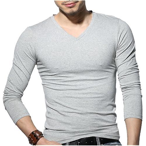 Sunshine Code Mens Tagless Slim Fit Top Muscle Cotton V-Neck Long Sleeve Undershirts T-Shirts scmshirt03