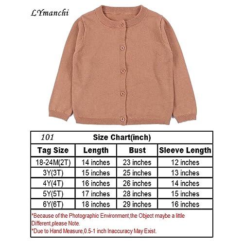 lymanchi Little Girls Crewneck Long Sleeve Cardigan Button Knit Sweater Uniform