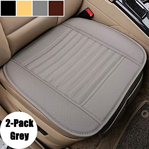 21.5 /× 24.06 Inch D-Lumina 2Pcs Breathable Leather Car Front Seat Cushion Cover Pad Mat Universal for Auto Interior Supplies Seat Bottom Protector Black