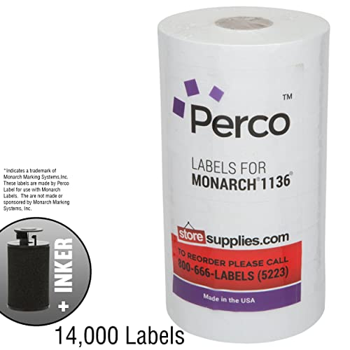 Free Ink Roll Included White with No Tamper Proof Slits Labels to fit XL Pro 2 Price Guns 16 Pack