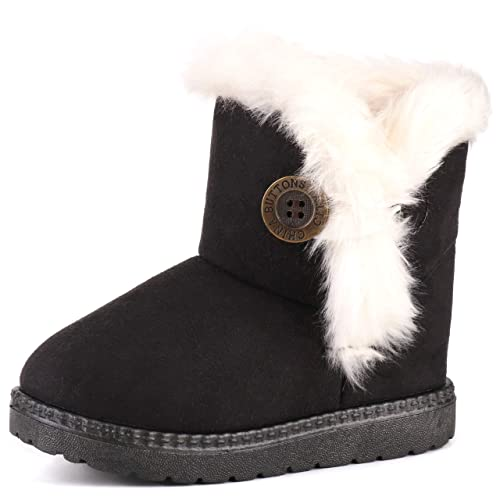 Toddler/'s Girl/'s Cold Weather Faux Fur Shearling Winter Snowboots Booties Warm
