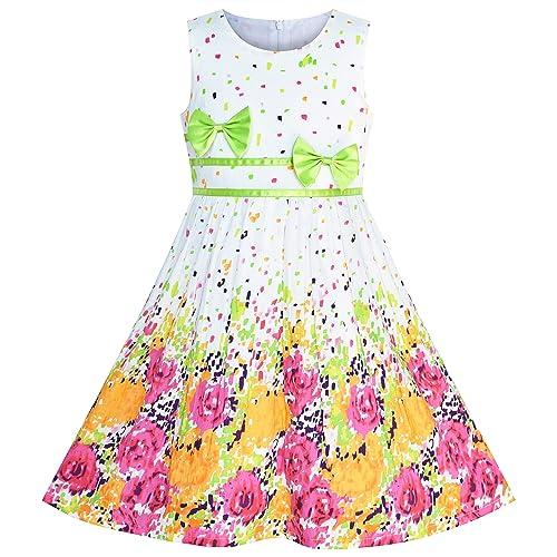 ca6594411e164 Sunny Fashion Girls Dress Rose Flower Double Bow Tie Party Sundress