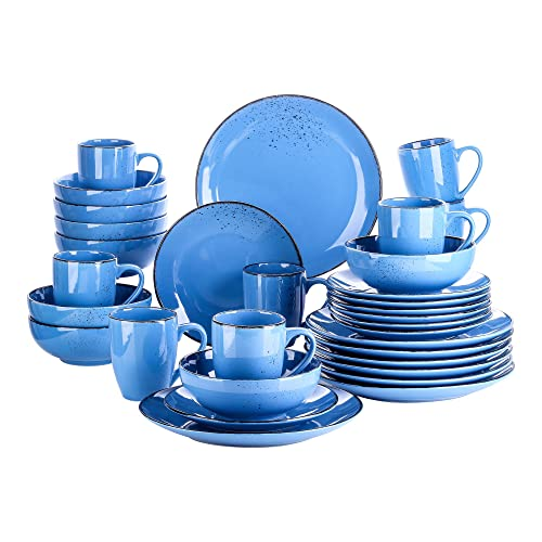 380ml Mug.Service for 4 800ml Cereal Bowl and 7.5 Dessert Plate vancasso Navia Jardin Dinner Set Stoneware Vintage Look Ceramic,16 Pieces Grey with 10.75 Dinner Plate