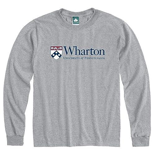 Ivysport University of Pennsylvania Cotton Long Sleeve T-Shirt by Wharton Logo Long Sleeve T-Shirt