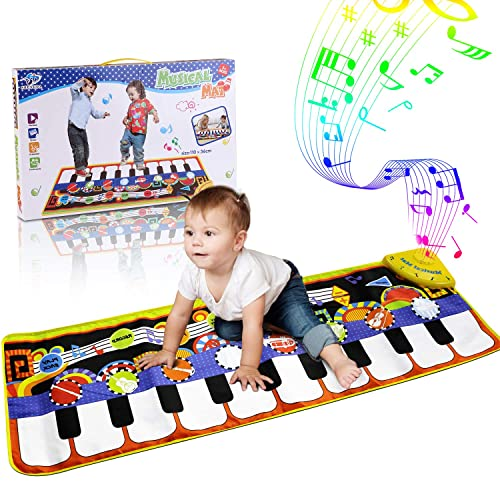 Huahuamini Musical Mat Baby Early Education Music Piano Keyboard Play Carpet Animal Blanket Touch Play Safety Learn Singing funny Toy for Kids