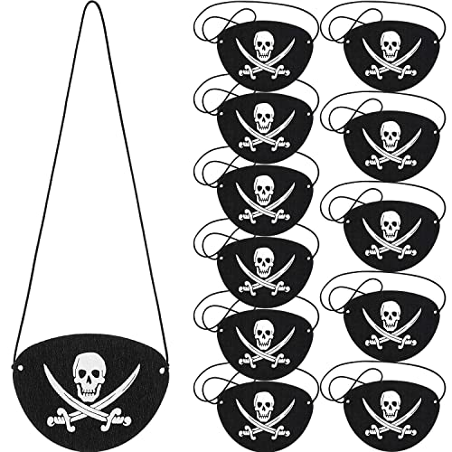 SAYAYA 4 Pieces Pirate Hat with Eye Patch Classic Skull Print Pirate Captain Costume Cap for Halloween Masquerade Party Cosplay Hat Prop