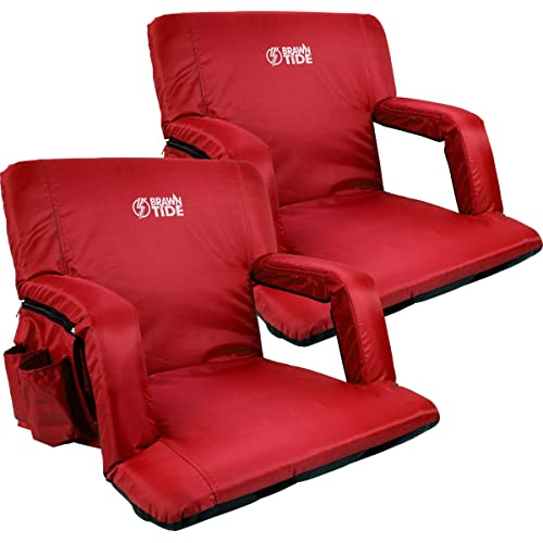 Smartxchoices Stadium Seat Reclining Chair for Bleachers w//Backs Armrest Support Bonus Shoulder Straps Folding /& Portable Water Resistant 6 Reclining Positions Padded Cushion