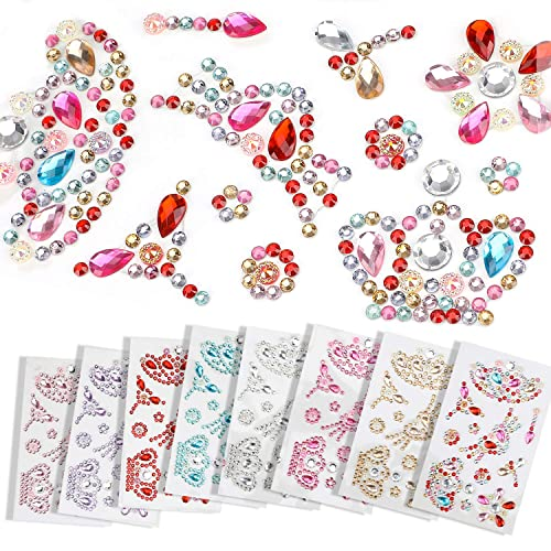 Sizes and Colo Self Adhesive Rhinestones Stickers Decorations Assorted Shapes Body Painting Selizo 1368Pcs Craft Gems Jewel Stickers Face Jewels Stick on Bling Crystal Diamond Stickers for Crafts