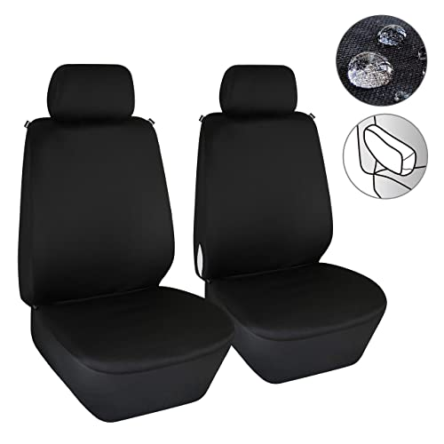 SureMart Car Seat Covers for Toyota Tundra Front Car Seat Cover Leatherette Car Seat Protector Airbag Compatible 2Pcs Black White Edge
