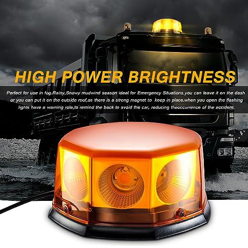 Led Magnetic Warning Beacon,Truck Car Vehicle Emergency Hazard High Power Beacon Caution Warning Snow Plow Safety Flashing 25W Strobe Light /…