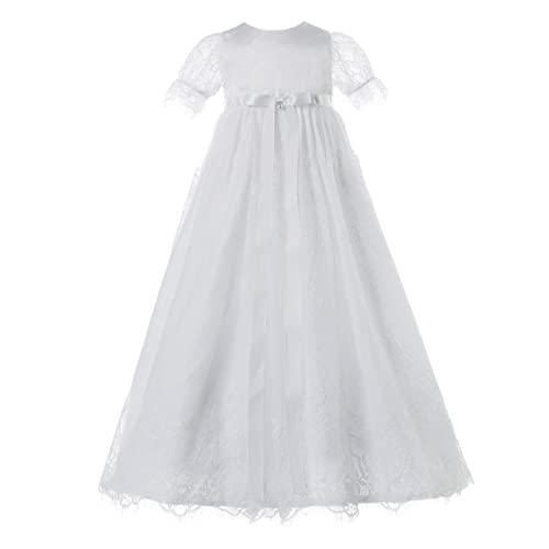 NIMBLE Baby Girl Newborn Christening Long Sleeves Lace Satin Gown Dress 0-9M White