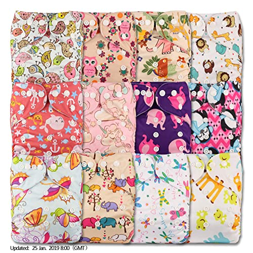 Patterns 1203 Set of 12 Littles /& Bloomz Fastener: Popper with 12 Bamboo Inserts Reusable Pocket Cloth Nappy