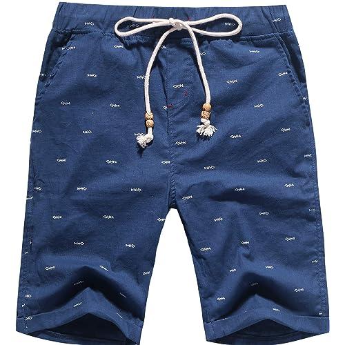Boisouey Mens Linen Casual Classic Fit Short