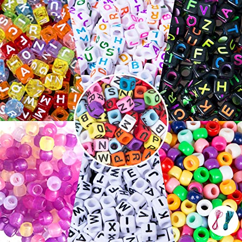 Duufin 1000 Pieces Bracelet Making Beads ABC Beads Pony Beads Letter Alphabet Beads with 8 Rolls Colorful Elastic Bracelet String for Jewelry Making DIY Crafts Bonus: 1 Pc Tweezers