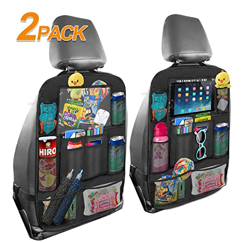 Car Back Seat Organizer with Tablet Holder for Kids AVNICUD Car Trash Can and Car Seat Back Organizer Set Waterproof Car Garbage Can with Lid and Storage Pockets