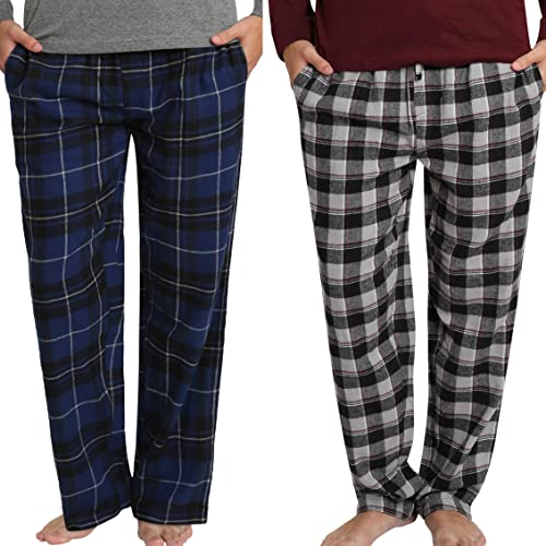 Enimay Men/'s Flannel Cotton Plaid Pajama Pants w// Drawstring Button Fly Pockets