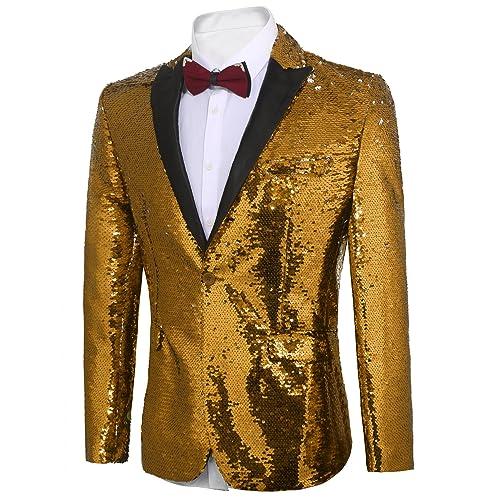 a34be0ca Home; COOFANDY Men's Shiny Sequins Suit Jacket Blazer One Button Tuxedo for  PartyWeddingBanquetProm. PrevNext
