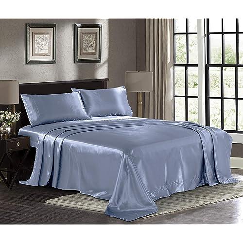 4-Piece Bed Sheet Sets Satin Silky Full Queen King Pillowcase Deep Pocket Teal