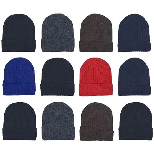 URATOT 9 Pack Kids Knit Beanies Warm Winter Skull Hat Caps Unisex Cuffed Hats