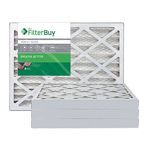 FilterBuy 14x30x1 MERV 8 Pleated AC Furnace Air Filter, Silver 14x30x1 Pack of 4 Filters