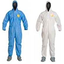 DuPont ProShield 50 NG127S Disposable Protective Coverall with Elastic Cuff X-Large White Respirator Fit Hood and Storm Flap 6 PACK