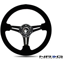 Yellow Center Marking 350mm 13.78 inches Part # ST-006-WT-Y NRG Steering Wheel - White Leather with White Stitching Deep Dish