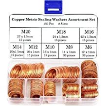Size Includes M5 M6 M8 M10 M12 M14 M16 M20 OwnMy 280Pcs 12 Sizes Brass Flat and Lock Washers Assortment Metric Ring Copper Crush Sealing Washer Gasket with Box