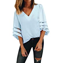 【MOHOLL】 Womens 3//4 Bell Sleeve V Neck Lace Patchwork Blouse Casual Loose Shirt Tops