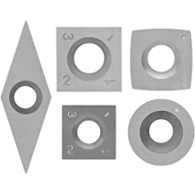 YUFUTOL 6pcs Tungsten Carbide Cutters Inserts Set Combination Set for Wood Lathe Turning Tools, Include Square, Square With Radius,Round and Diamond Shaped Cutters Supplied with 6pcs Screws