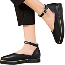 ◐OFEFAN◑ Womens Ingrid Ankle Strap Low Wedge Sandal