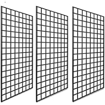 Only Garment Racks 2 x 6 Gridwall Panel Tower with T-Base Floorstanding Display Kit 3-Pack Black /…