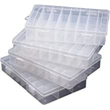 DIY Jewelry Beads Seeds /& Small Hardware 2.9x2.9 x1 /& 2.1x2.1 x0.8 Inches 24Pack Small Bead Storage Containers 2 Size Clear Plastic Organizer Boxes with Lids for Diamond Drills