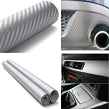 "3D Silver Carbon Fiber Adhesive Vinyl Overlay Wrap Protector 3 Sheets 48/""x12/"""