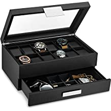 139950182 Glenor Co Watch Box with Valet Drawer for Men - 12 Slot Luxury Watch Case  Display Organizer, Carbon Fiber Design - Metal Buckle for Mens .