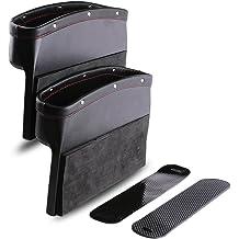 Black LOHO WONDERZ Car Seat Gap Filler Carbon Fiber Console Side Pocket Car Side Pocket Organizer for Cellphones Wallet Coin Key with Cup Holder