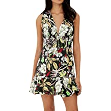 Women Summer Deep V Neck Sleeveless Dresses Casual Floral Print Beach Party Mini Dress Daily Short Jumpsuits Dresses