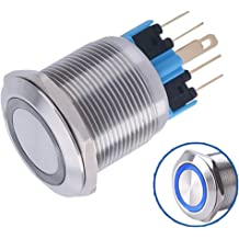 WerFamily 16mm Momentary Push Button Switch Blue Angel Eye Ring LED 1NO 1NC SPDT ON//OFF Waterproof Stainless Steel Metal Round with Wire Socket Plug