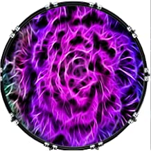 Custom Aquarian 22 Bass Kick Drum Head Front Drumskin Rose Eye Skull
