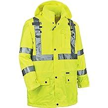 Ergodyne GloWear 8915BK ANSI Black Bottom High Visibility Lime Safety Rain Pants Large