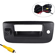 omotor Black Tailgate Backup Reverse Handle with Safety Parking Backup Camera for Ford F150 F250 F350 F450 F550 2005-2016 Pickup Truck Wide Angle Vision