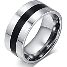 SAINTHERO Mens Black 6MM Wedding Bands Vintage Tungsten Stainless Steel Promise Rings High Polished Finish Comfort Fit Size 7-10