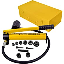 Plastic Grip Two Metal Clasps Yellow US Delivery Mageshi 10 Ton Hydraulic Knockout Punch Hole Driver Kit with 6 PCS Tool Set Rotatable ON//OFF Switch