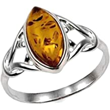 Baltic Amber Sterling Silver Filigree Oval Ring Ian and Valeri Co