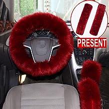 3Pcs Set Winter Fashion Faux Wool Steering Wheel Cover/&Handbrake Cover/&Gear Shift Cover Set Universal Furry Warm Plush car Interior Automatic, black/&gray