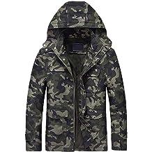 Pervobs Men Winter Warm Thick Jacket Outwear Solid Slim Zipper Multi-Pocket Hooded Coat Overcoat Clearance Mens Coat