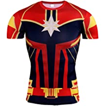 f298b9d8 Fashion Compression Fitted Shirt Captain America Shield Shirt Short Sleeve