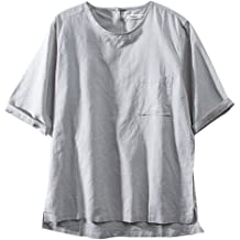 Gray,XL Mens Pocket Casual Cotton Short Sleeves Sharemen Summer Fashion Solid Color Shirt Single-Breasted Shirt