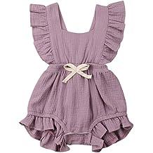 Newborn Floral Pleats Pajamas with Headband WOCACHI Unisex Baby Footed Sleeper