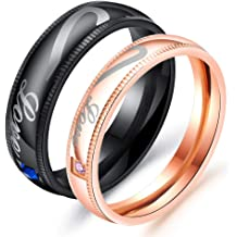 SAINTHERO Mens Womens Forever Love Promise Band Ring Classic 6MM 316L Stainless Steel Hearts Couples Rings for His or Hers Mate Finish Comfort It Size 5-10