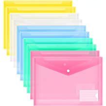 ABClife Plastic Envelopes Poly Envelopes 12 Pack,Document Folder US Letter A4 Size with Label Pocket/&Snap Closure,Filing Envelopes Organizer with Maze Pattern for School//Home//Office Assorted Color